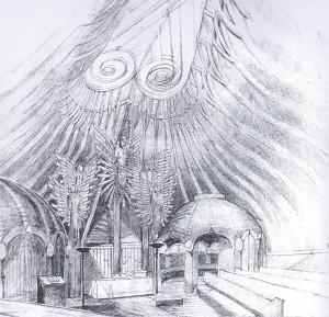 belső nézet  - Makovecz Imre rajza